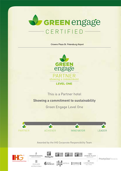 """partner hotel of """"Green Engage"""" programme protecting our environment"""